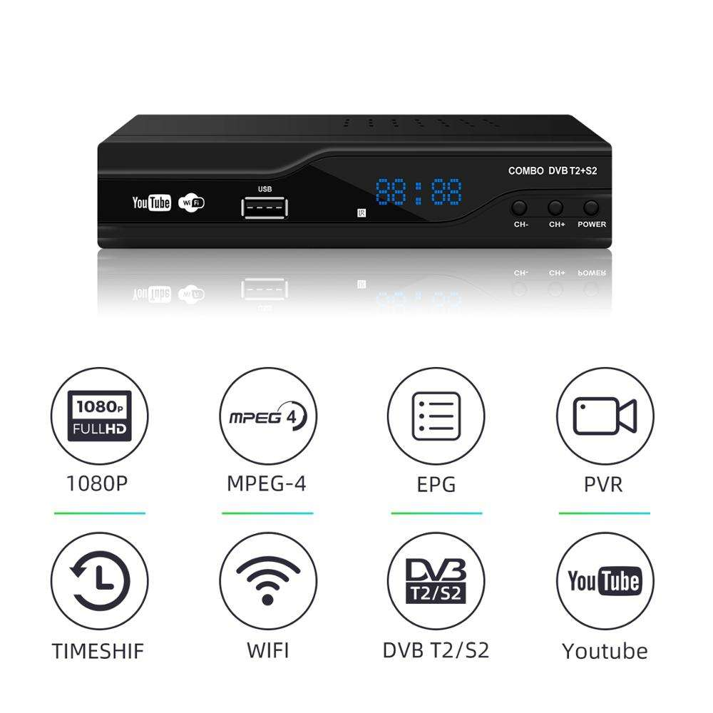 satellite tv receivers T2+S2 IPTV CCCAM dvb t2 s2 combo decoder