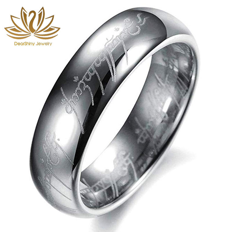Lord Of The Rings Silver Tungsten Carbide Wedding Band 4/5/6/7/8 Mm Goud plated Engagement Gegraveerd Koepelvormige Comfort Fit