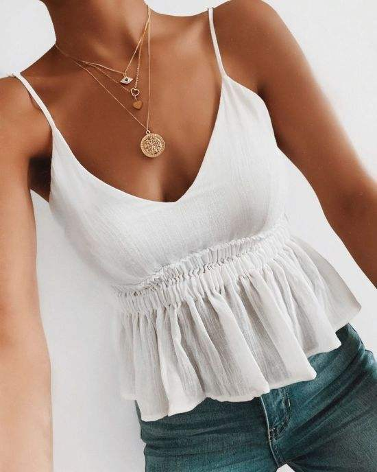Women summer hot white tank top sexy deep v neck Spaghetti Strap tunic slim top