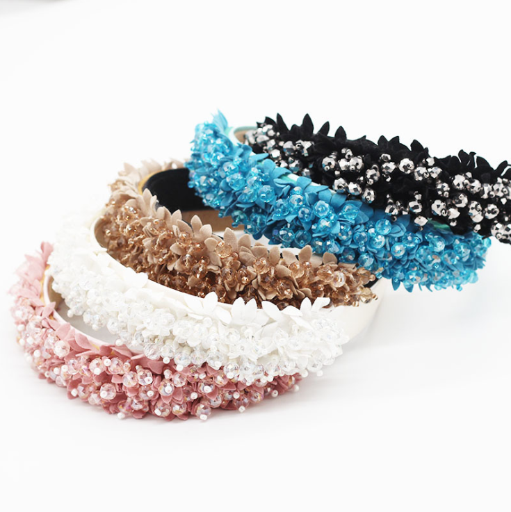 2020 New Fashionable Fabric Tassel Crystal Flower Headband Leisure Travel Personalized Hair Accessories