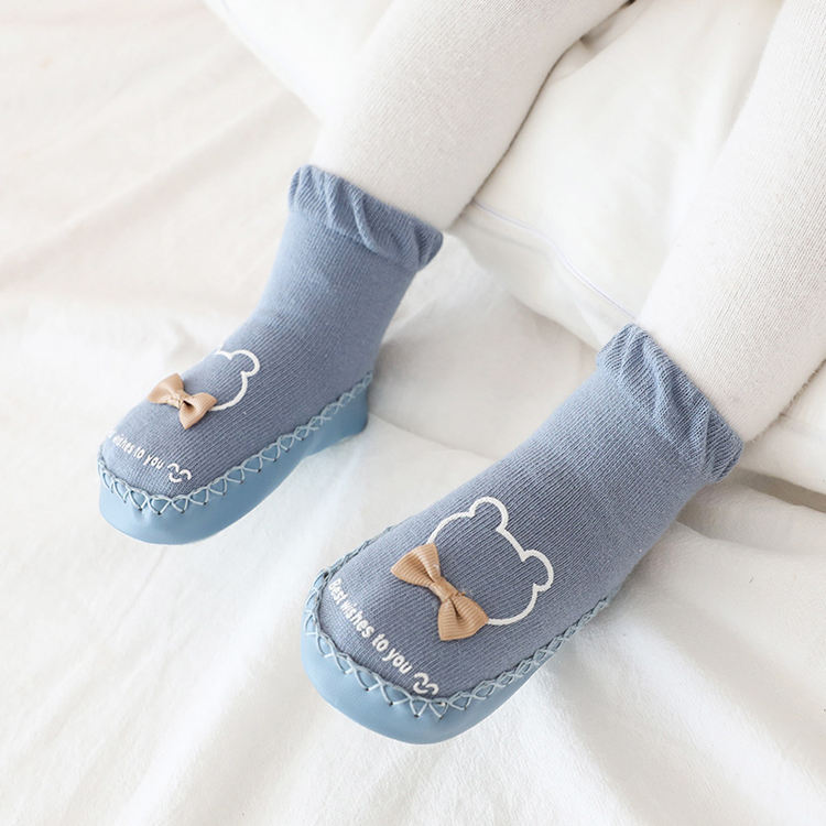 Custom Combed Cotton Anti Slip Baby Shoe Socks Wholesale Infant Baby Cartoon Socks Shoes With Leather Sole