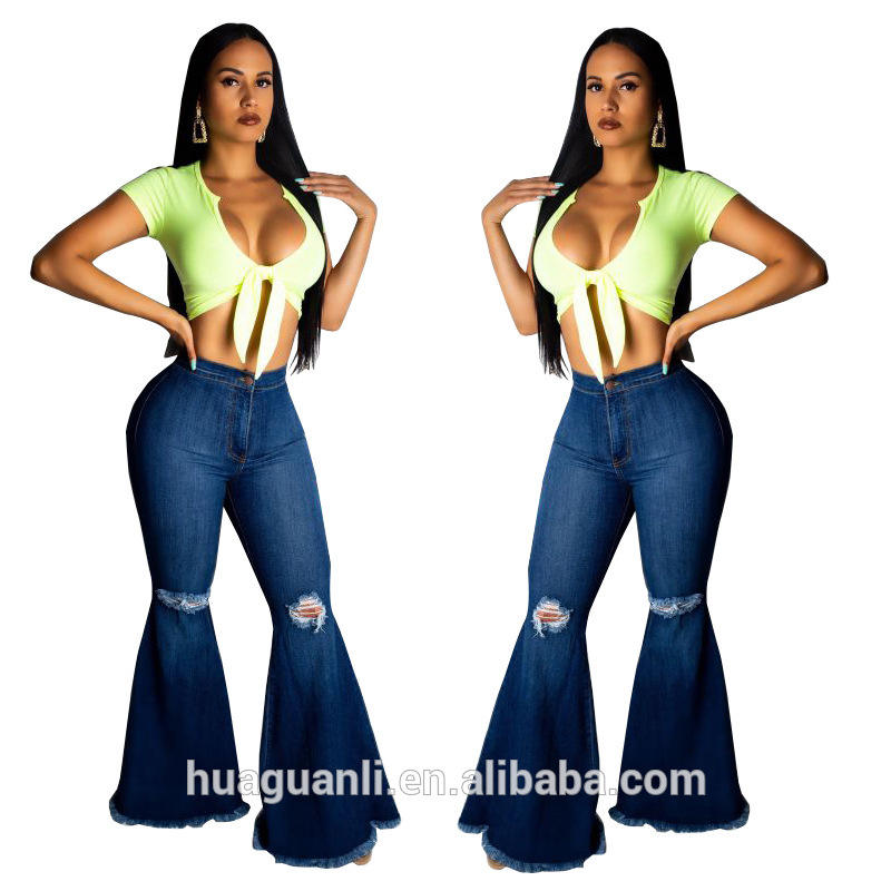 HSF2024 2019 New Design Ripped Knee Detail Blue Flared Jeans