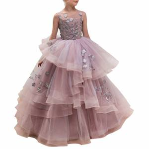 Latest Cheap Princess Puffy Flower Girls Dresses Sleeveless Pageant Gowns For Little Girl Baby Girl Dresses