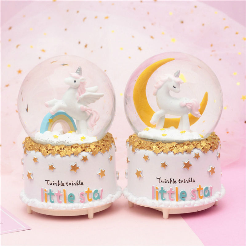 Glass Snowball Custom Unicorn Crystal Glass Polyresin Music Box Resin Snowball Home Office INterior Decoration Christmas Gifts Snow Globes