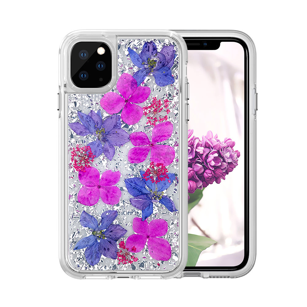 Custom Case Ladies Glitter Natural Dried Flowers Mobile Phone Cover Flower Case PC Clear Ture Flower Case For Iphone 11 Pro MAX