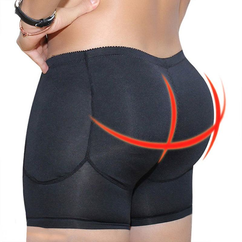 Plus Size Underwear Boxer Men Black Padded Open Crotch Shapers 4 Pieces Pads Control Panties Slimming Shapers Men Waist Trainer