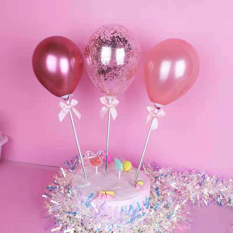 New Party Supplies Cake Accessories Rose Gold Balloon Decoration Happy Birthday Cupcake Plugin Balloons Cake Toppers