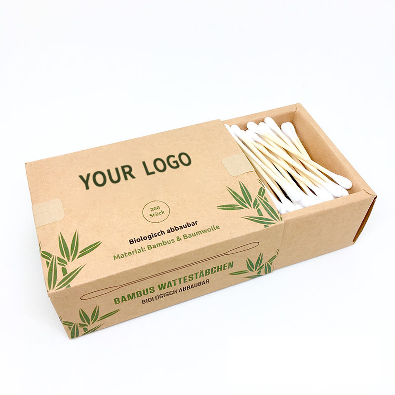 200pcs OEM Eco Friendly Biodegradabile Q-tip Medico o <span class=keywords><strong>di</strong></span> Uso Quotidiano Cotone Imballaggio Scatole <span class=keywords><strong>di</strong></span> Carta Bastone <span class=keywords><strong>Di</strong></span> <span class=keywords><strong>Bambù</strong></span> Personalizzato tamponi