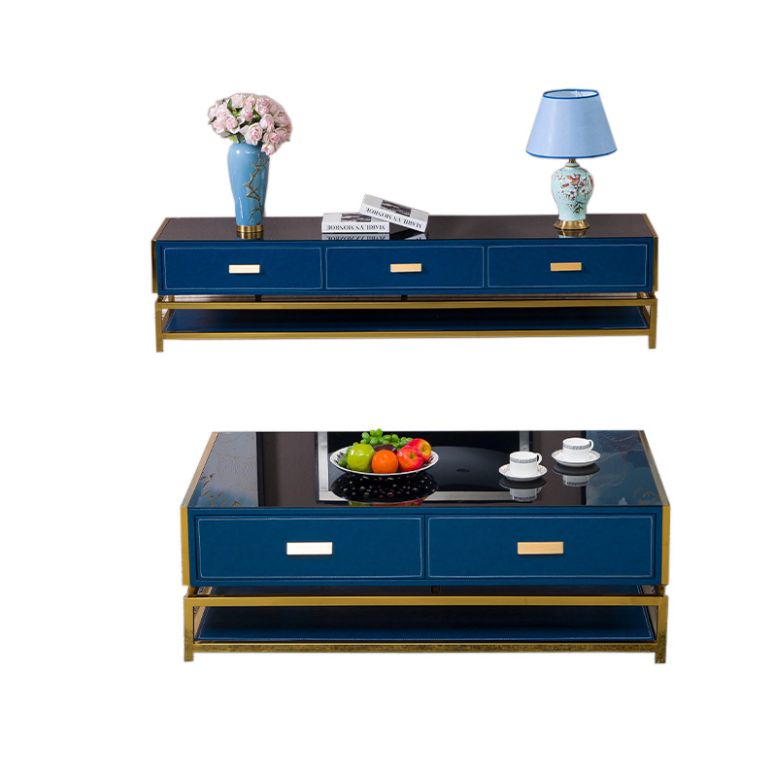 Light luxury post modern marble TV cabinet Nordic minimalist living room fashion design TV cabinet coffee table combination set