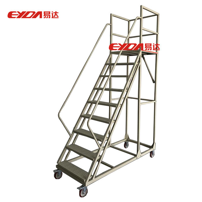 Multi-purpose Warehouse Metal Step Ladder with Wheel