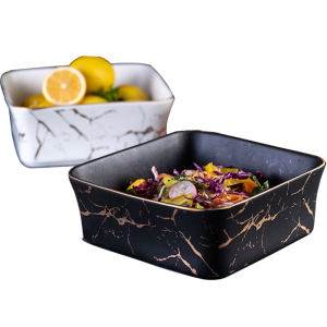 European Design Marble Square Ceramic Salad Soup Bowl