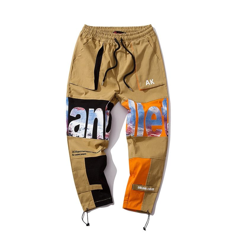 High Street HIP HOP Letter Printed Splicing Men Khaki Baggy Pants Mens Baggy Chino Trousers Pants Wide Hips Pants