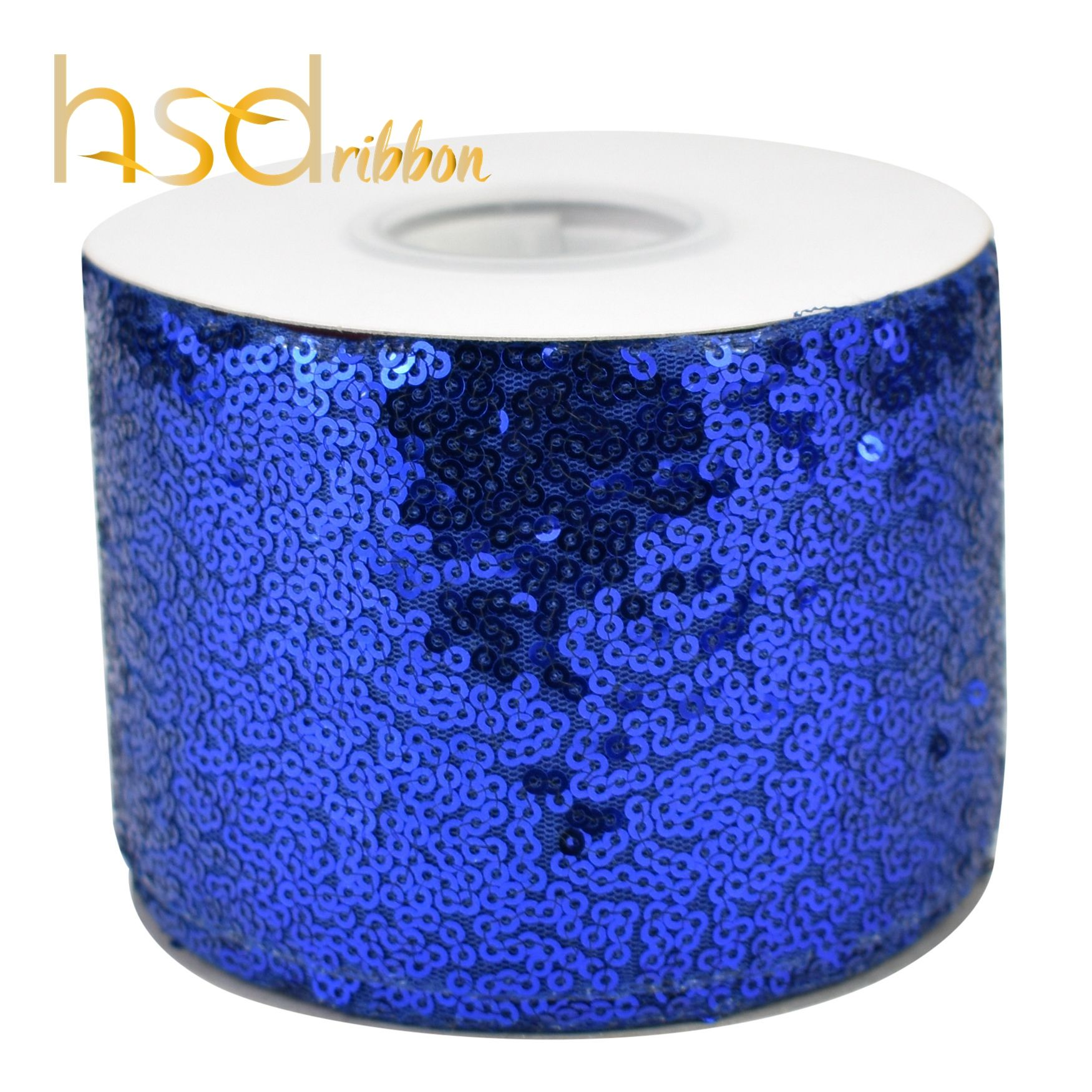 HSDRibbon wholesale 3inch 75mm dark blue Sequin Fabric Glitter Sequin Ribbon