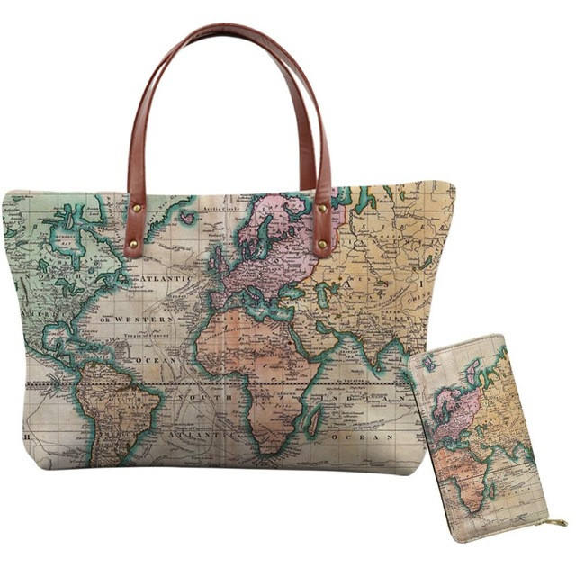 Promotional Vintage World Map Print Womens Handbags And Purses Set Luxury Custom Handbag Tote Bag For Lady Handbag
