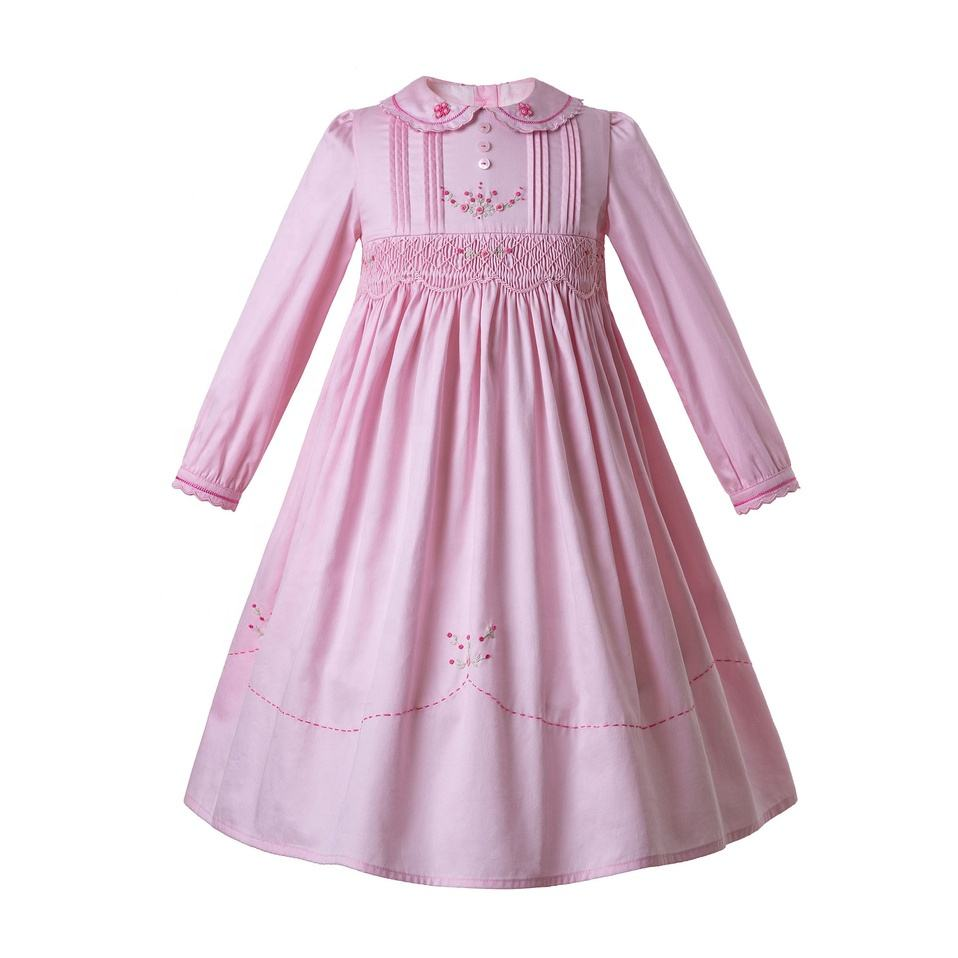 Pettigirl Pink Flower Girl Dresses Smocked Dresses With Hand Embroidery Long Dresses For Kids