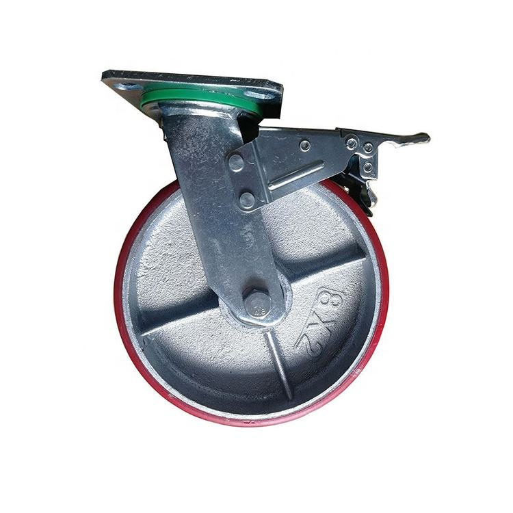 200mm Iron Core Cabinet Red PU Caster Wheel