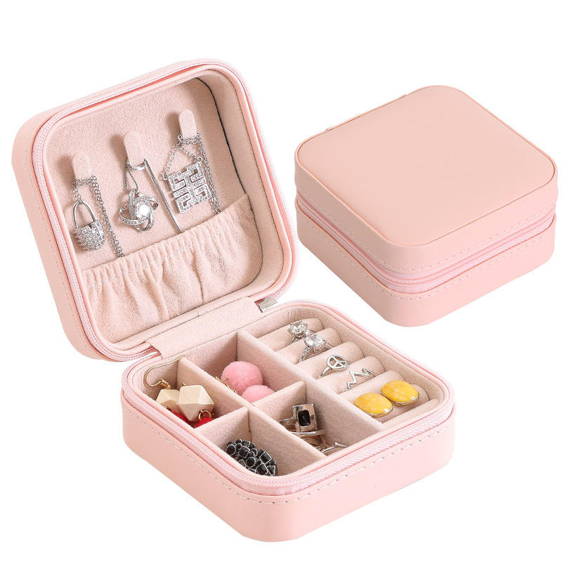 Hot sale PU Leather Small Travel Jewelry Box for Lady Organizer Display Storage Case for Rings Earrings Necklace Zipper Closure