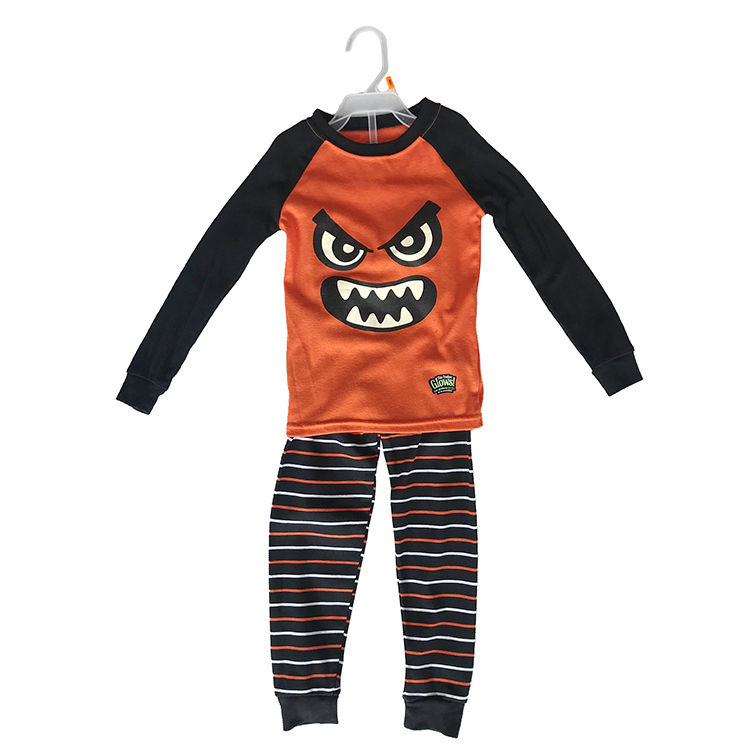 Wholesale Long Sleeve Cotton Round Neck Kids Boys Branded Garment Stock Lots Pajama Sets