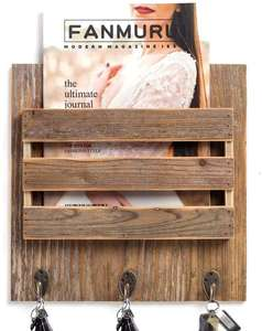 Rustic Wood Entryway Mail ผู้ถือ 3 ตะขอกุญแจ