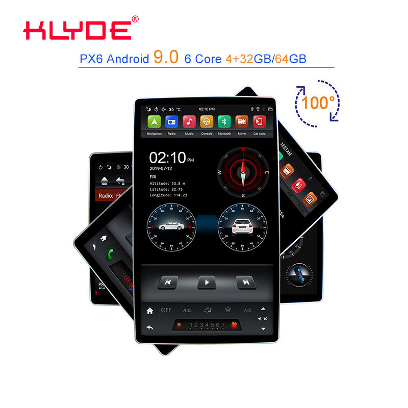 KLYDE KD-1280 PX6 Android 9.0, Pemutar Video <span class=keywords><strong>Mobil</strong></span> 2Din <span class=keywords><strong>Stereo</strong></span> Universal dengan Radio GPS WIFI Layar Rotasi 12.8 Inci