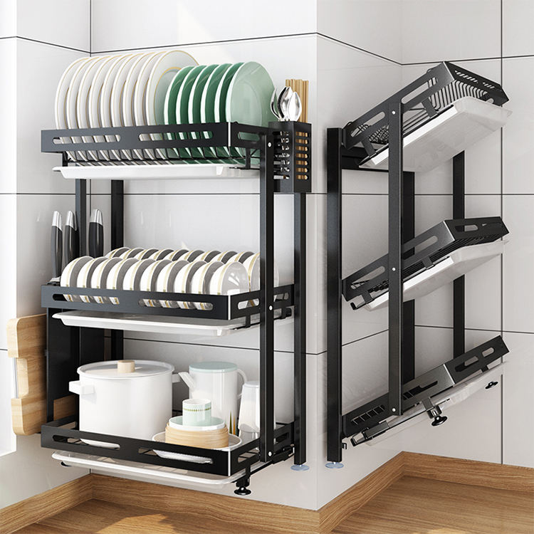 Wholesale New No Drilling 3 Tier Wall Hanging Tableware Drain Dry Kitchen Organizer Folding Free Installation Storage Dish Rack