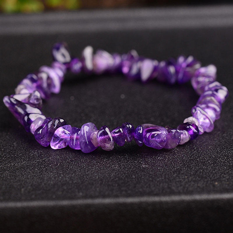 2019 Fashion Amethyst Energy Jewelry Natural Stone Chips Single Strand Women Bracelets Healing Crystals Beads Bracelet