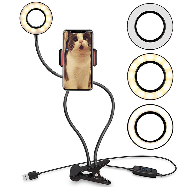 2020 cheap mini universal usb control mobile ring light small clip on cell phone holder stand led selfie ring light