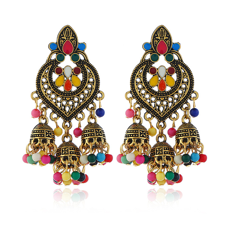 Indian Oxidized Silver Beads Chandelier Silver Polki Jhumki Jhumka Earrings