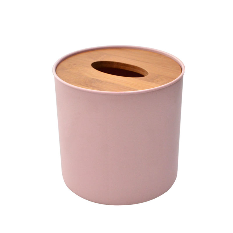 Delicate Natural Round Plastic Tissue Box Bamboo Tissue Box Cover Napkin Tissue Holder for Table Decoration