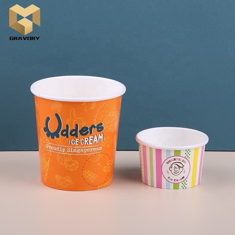 Hot selling 2021 double pe pla coating custom printed ice cream paper cup for summer