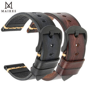 Handmade Leather Watch Bands Black & Brown Luxury Genuine Cow Leather Watch Strap 20mm 22mm 24mm Smart Watch Bracelet Belt