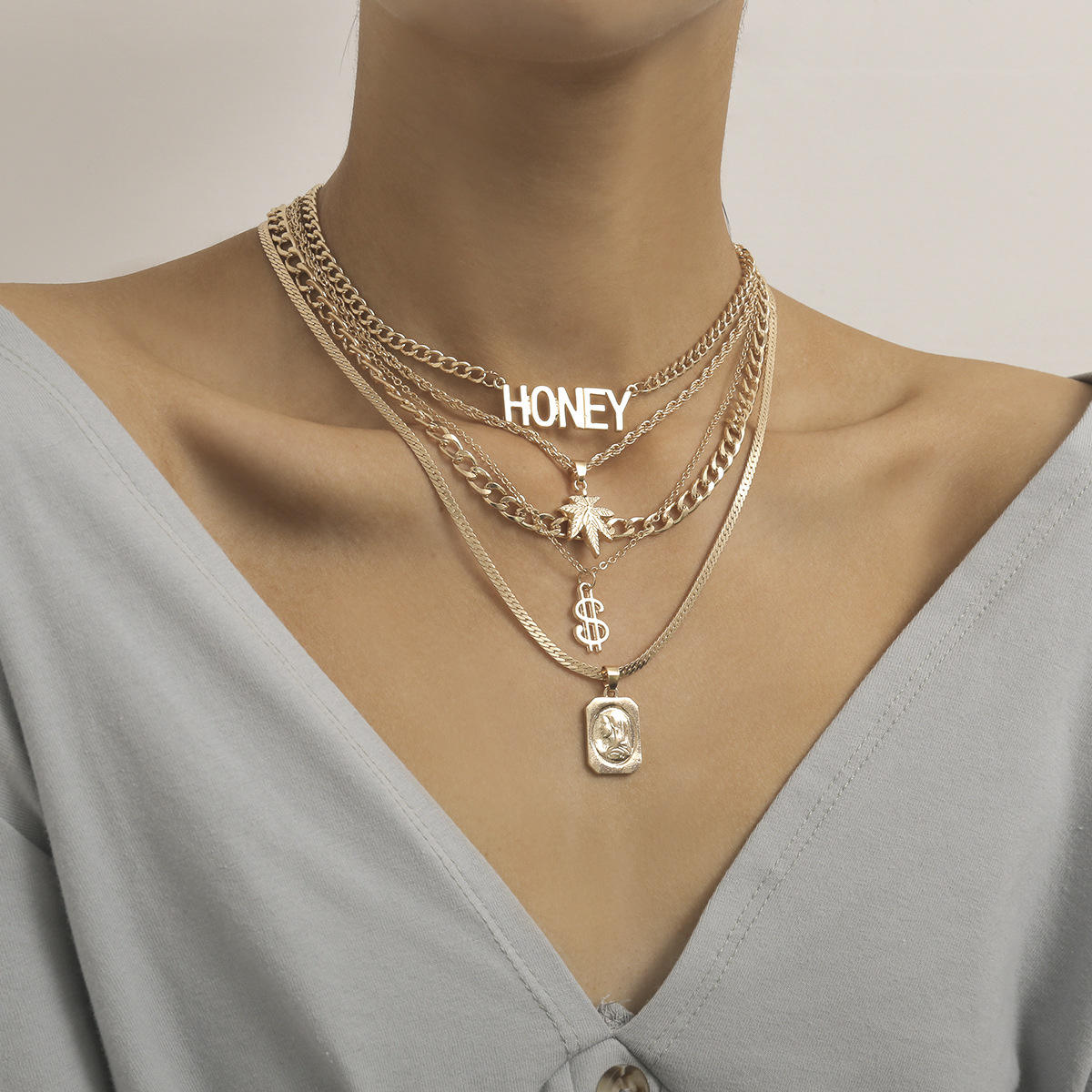 Hot New Multilayer Necklace Set Simple HONEY Alphabet Creative Chain Gold Necklace Personalized Metal Beauty Coin Necklace