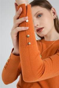 Hot Selling Popular 2020 Recommended Product Orange Lady Pullover Knitted Sweater For Sale