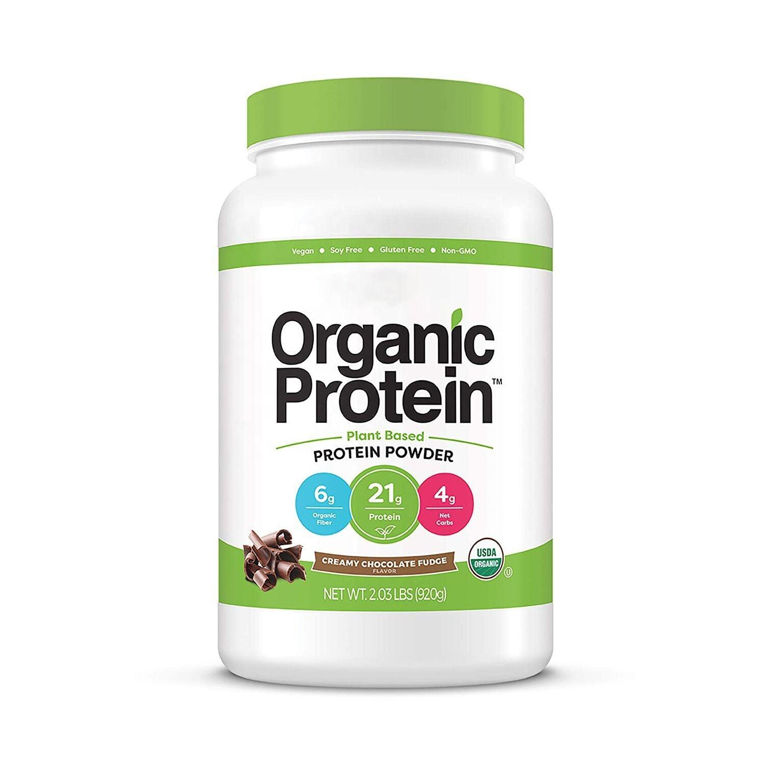 Orgain Organic Plant Based Protein Powder, Creamy Chocolate Fudge - Vegan, Low Net Carbs, Non Dairy,
