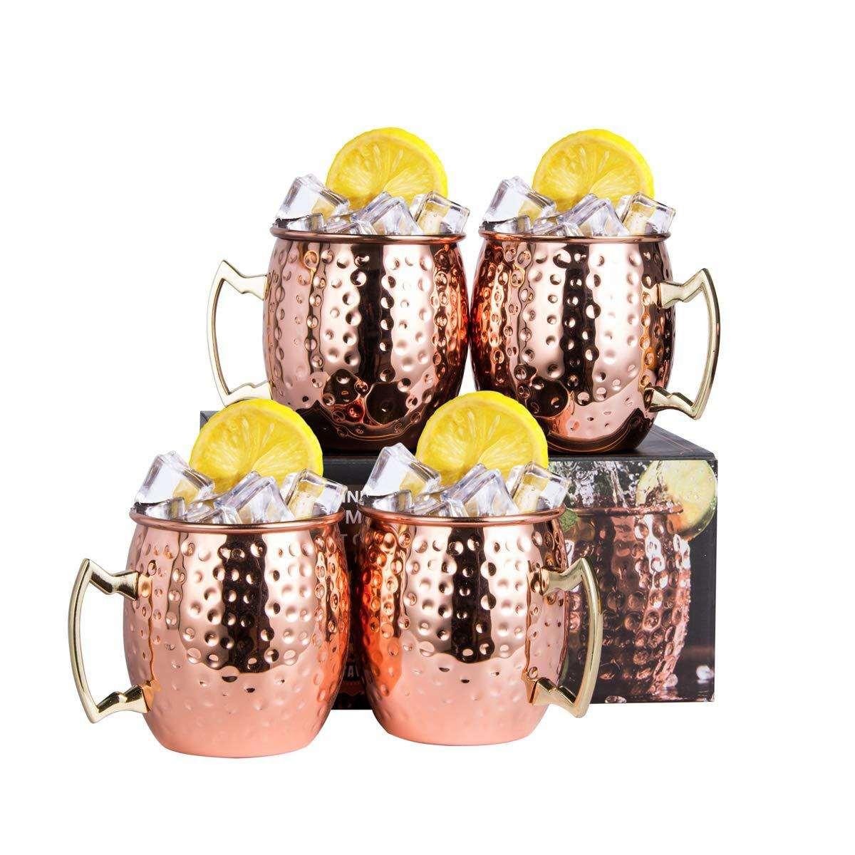 Amazon Moscow Mule Copper Mugs Set von 4 mit Brass Handle 18 unzen Stainless Steel Lining Classic Drinking Cup