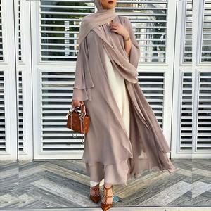 2021 Fashion Muslimah Middle East Abaya Dress Solid Color Arabic Layered Long Open Cardigan Lady Robe Maxi Kaftan Dress Kimono