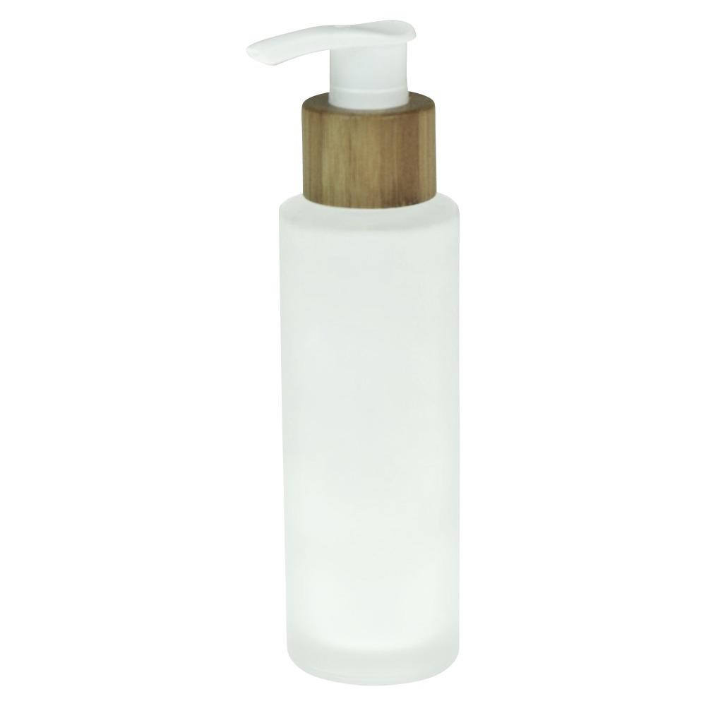 Custom 50ml 100ml 120ml 150ml Bamboo Cosmetic Packaging Clear Glass Bottle With Bamboo Lotion Pump