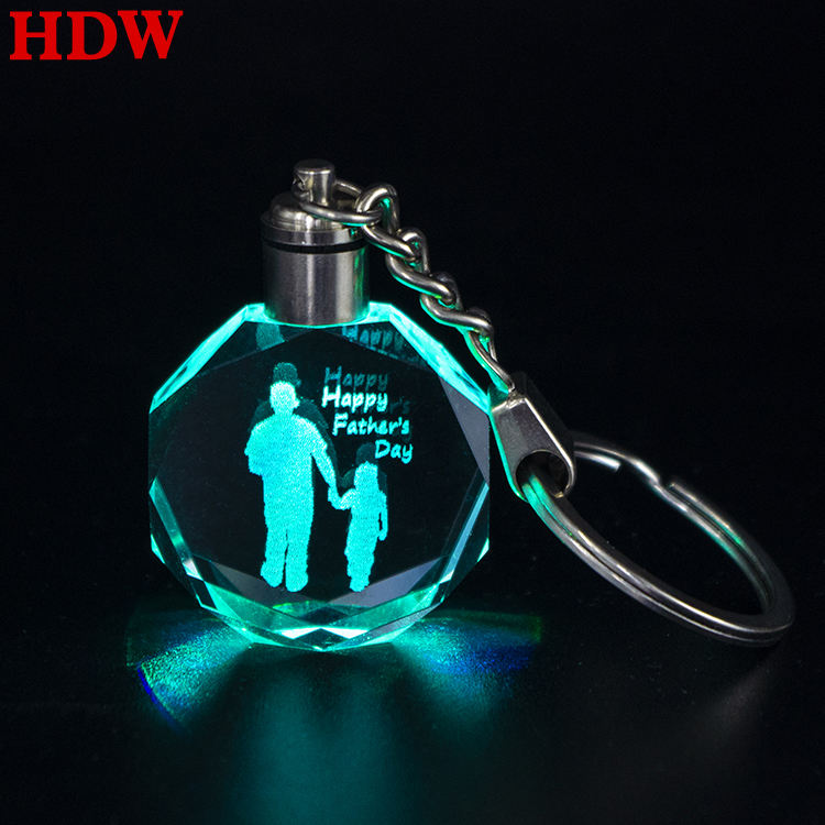 Laser [ Key Chain Laser ] Wholesale Father's Day Gift Custom Big Sizes Crystal LED Key Chain Laser Engraved Changeable Colorful Key Ring