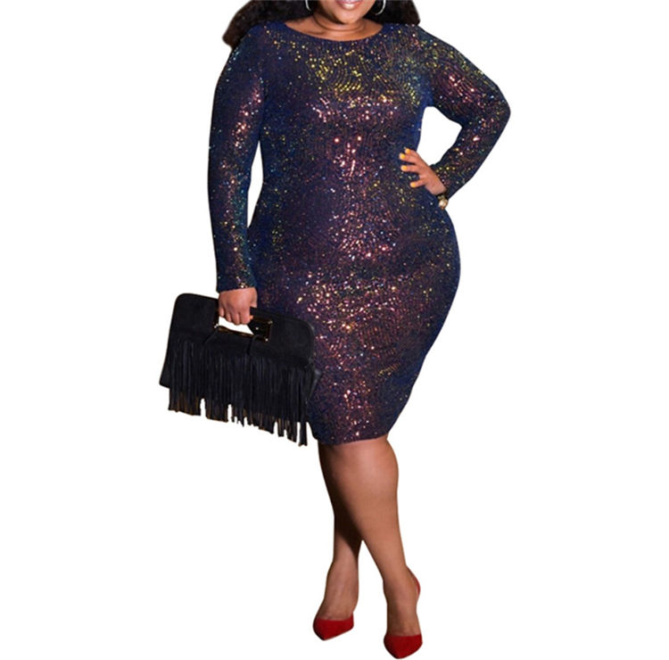 Apparel Manufacturers Hot Plus Size Clothing Women Long Sleeve Sequin Dress