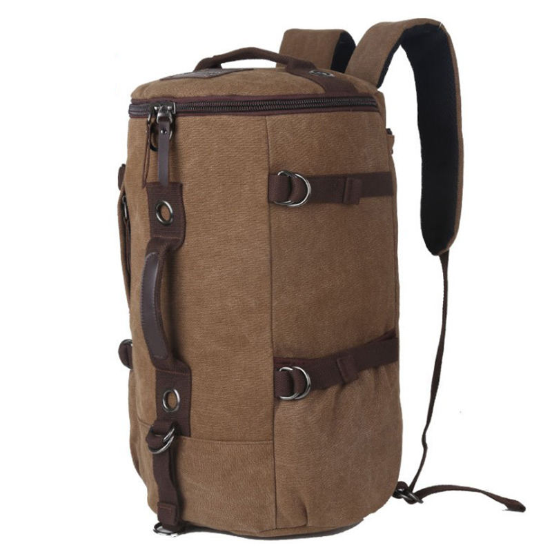 Durable Wear Resistant Customizable Large Capacity Canvas Hiking Travel Backpack with Metal Buckle