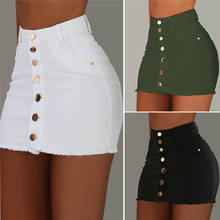 2020 High quality jeans denim skirts Solid color Single-breasted skinny women's skirts
