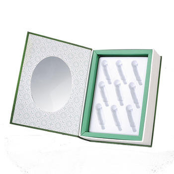 Customize green color white inside book style cosmetic paper box