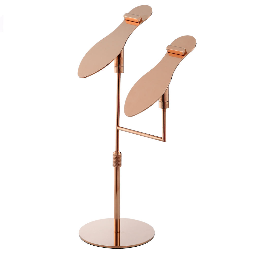 Shoe Boutique High Quality Adjustable Height Rose Gold Metal One Pair Sandal Shoes Display Stand Rack for Retail