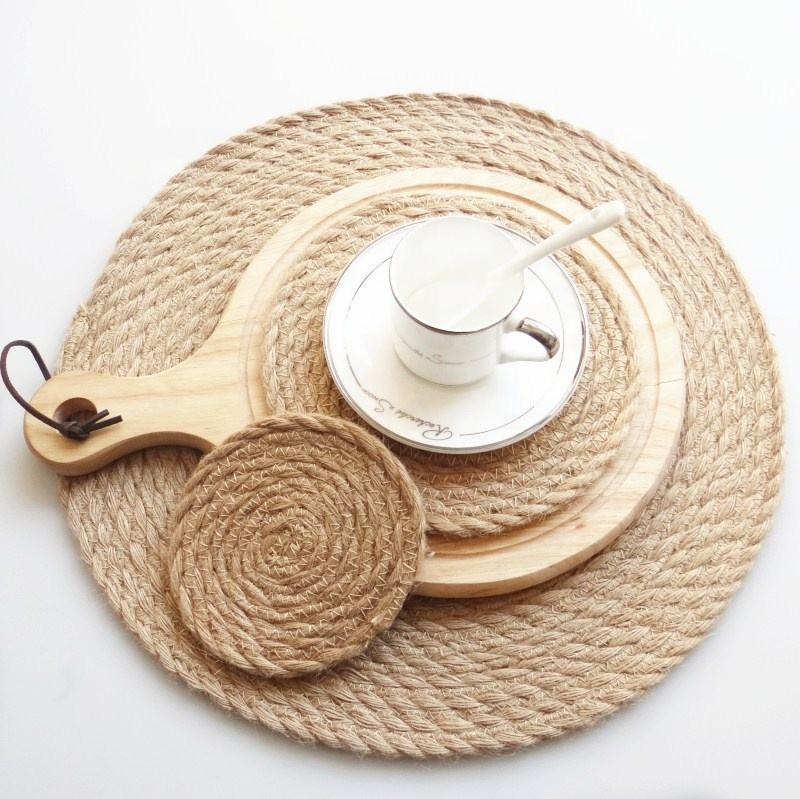 Eco-Friendly Flax Placemats Round Braided Straw Placemats Customized Table Mat