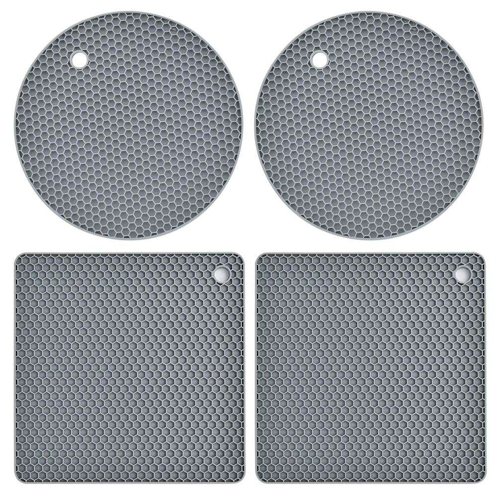 Extra Thick Silicone Trivet Mat Heat Resistant Pot Holders Hot Pads Multi-Purpose Table Placemats for Hot Dishes