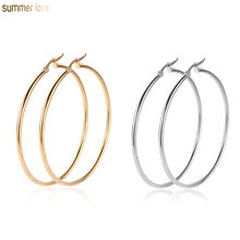 Fashion Cheap Gold Silver 10mm -80mm Stainless Steel Big Circle Hoop Dangle Earrings Women Jewelry
