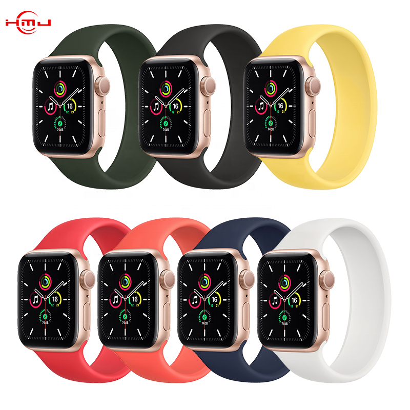 38mm 40mm 42mm 44mm Elastic Band Silicone Loop Belt Bracelet Watch Band Silicone Solo Loop for Apple Watch 6 SE