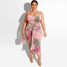 Hot Selling Dye Print Sexy Women Plus Size Dress & Skirts Casual Dresses Two Piece Set Clothing