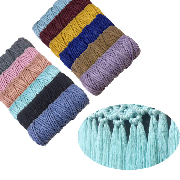 Wholesale colorful twisted cotton rope 3mm macrame cord string for diy