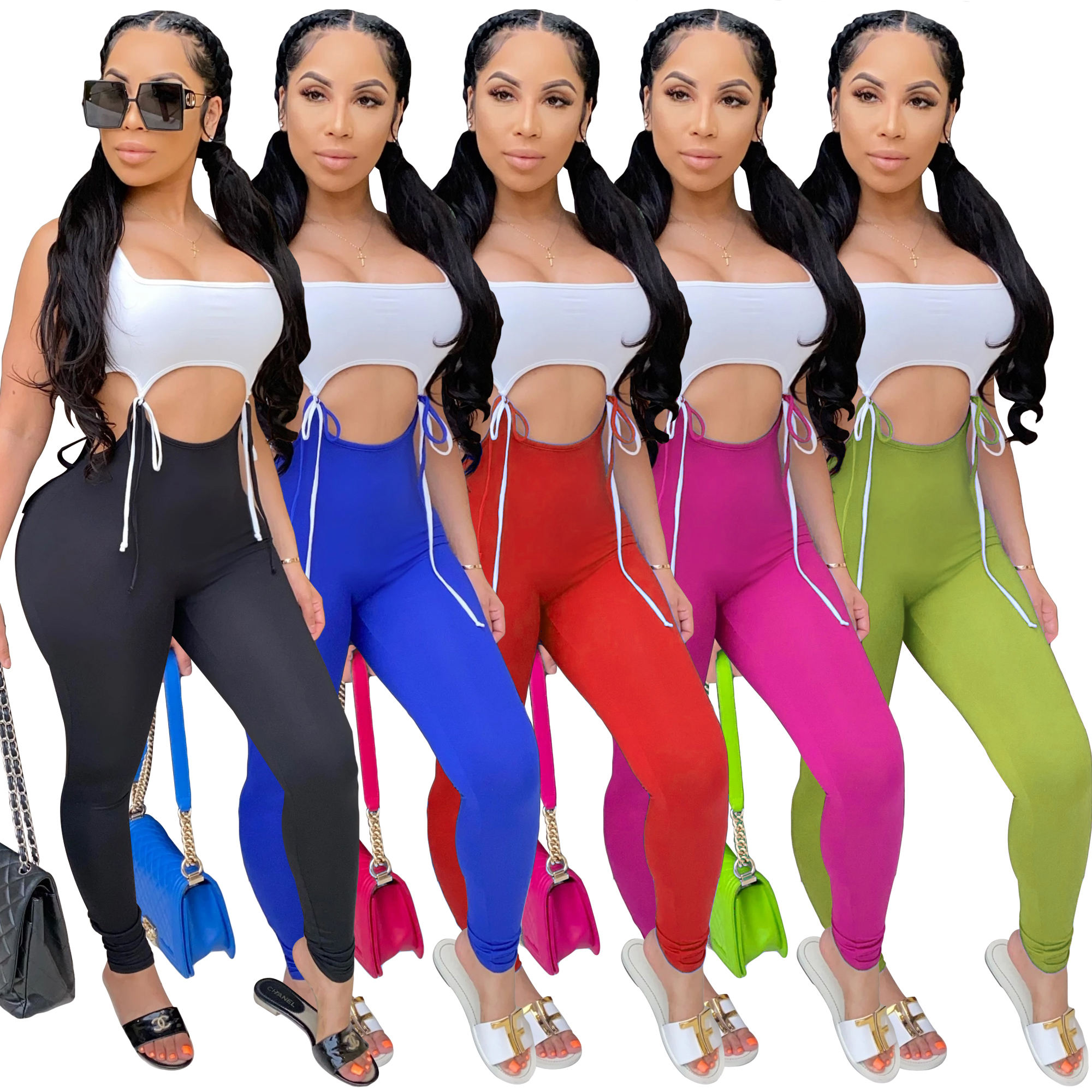 2020 New Fashion Womens Casual One Pieces Ladies Jumpsuits Lace Up Siamese Trousers Long Pants Clothing Summer